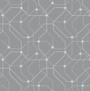 Lewis & Irene - City Nights - 6029 - Grey & Silver Map Geometric (Metallic) - A293.1 - Cotton Fabric